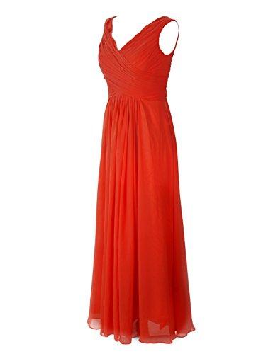 Dresstells Damenmode Bodenlang Chiffon Abendkleider Brautjungfernkleid Mit Trägern Lilac