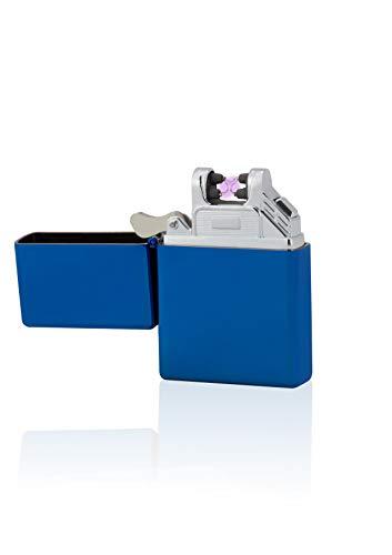 TESLA Lighter T03 Lichtbogen-Feuerzeug, elektronisches USB Feuerzeug, Double-Arc Lighter, wiederaufladbar, Blau