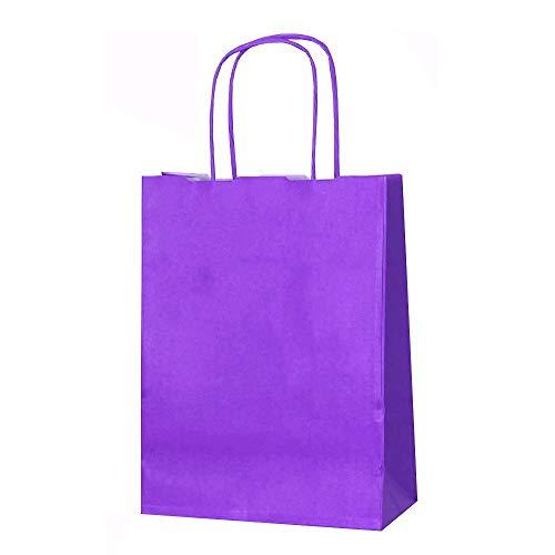 Papiertüten mit Kordelhenkel, aus Kraftpapier, als Geschenktüten geeignet, in verschiedenen Farben und Größen erhältlich, 15 Stück, Kraft-Papier, violett, XS