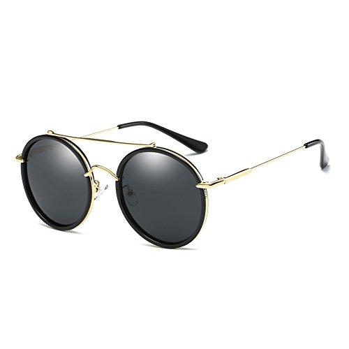 Nuvola Sonnenbrille mit UV-Schutz, für Damen und Herren, modische runde Form, schwarze Gläser, ein schönes Geschenk zum Valentinstag