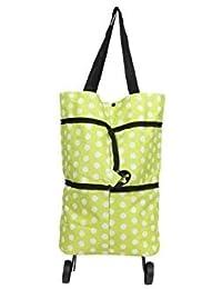 Rural Mart Folding Essential Shopping Trolley Luggage Bag With Wheels (Green)