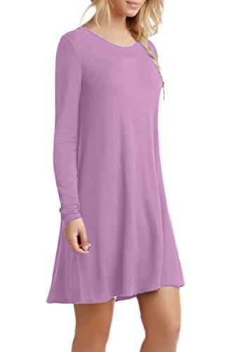 YMING Damen Langarm Kleid Lose T-Shirt Kleid Rundhals Casual Tunika Mini Kleid 14 Farben,XS-XXXXL Hell Violett