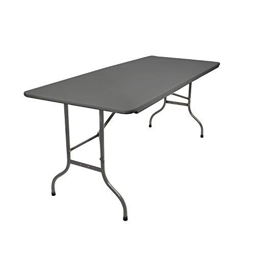 Vanage Klapptisch in grau / anthrazit - Gartentisch mit Kunststoff Tischplatte und Stahlgestell - Beistelltisch für Garten, Terrasse und Balkon - Buffettisch mit Tragegriff
