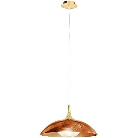 Ciotole lampada a sospensione, 1Luce da parete per dimensioni: 175cm H x 45cm Ø, colore struttura: oro 24K, paralume colore: rame