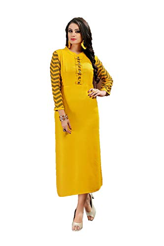 Indian Women Designer Partywear Ethnic Traditonal Yellow Readymade Kurti.