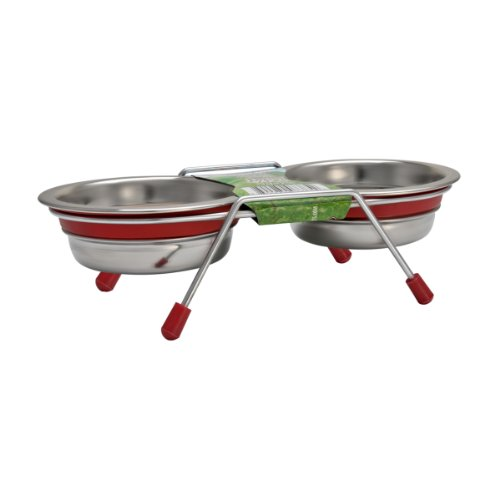 Loving Pets Silent Double Diner Bowl for Dogs, 2-Quart, Red by Loving Pets (Red Diner Dog)