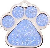 Pet-Tags Bow Wow Meow mit Personalisierung Blaue Haustiermarke glitzernde Pfote (Klein) | GRAVURSERVICE | Personalisierte, moderne Design-Haustiermarken für Hunde und Katzen