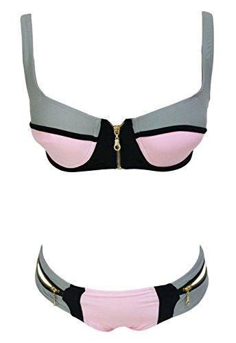 Pinkyee Damen Bikini-Set Grau