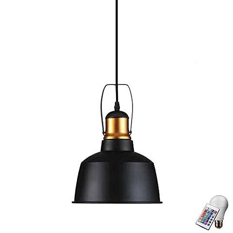 Robuste Pendel Leuchte Fernbedienung Decken Lampe ALU Schwarz im Set inklusive RGB LED Leuchtmittel