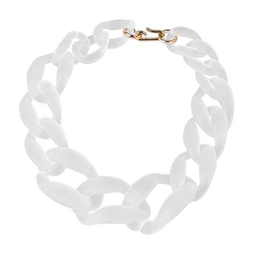 TOOGOO(R) Grandi monili di modo della collana della catena della catena Frosted Bianco