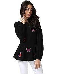 Ritu Kumar Women's Cotton Regular Fit Short Top(STPC-MOSS35N16920725__Black)