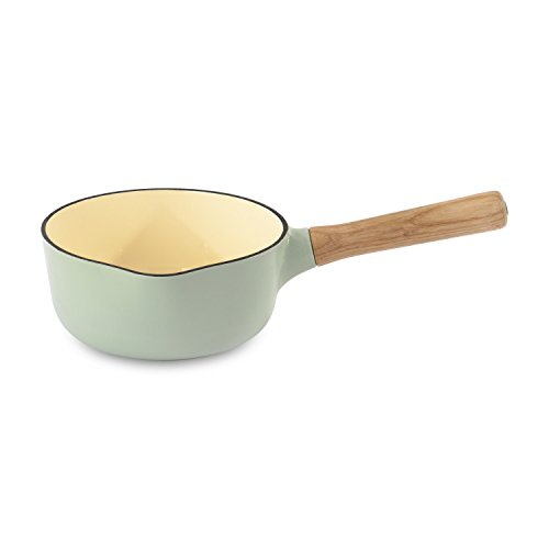 BergHOFF Ron Cast Iron Enamelled Saucepan with Wooden Handle, Green