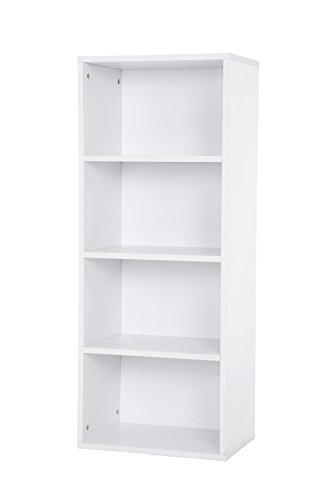 Songmics 4 Fächern Bücherregal StandRegal Aktenregal ordnerregal Holzregal Belastung/Regalboden: 30 kg 42,5 x 106,5 x 29,5 cm weiß LBC104W