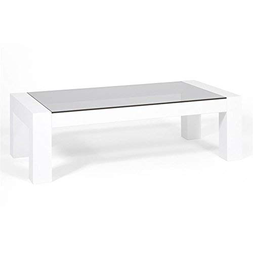 Mobili Fiver, Table Basse, Plateau en Verre trempé, Iacopo, Blanc Laqué Brillant, 100 x 50 x 30 cm, Mélaminé/Verre, Made in Italy