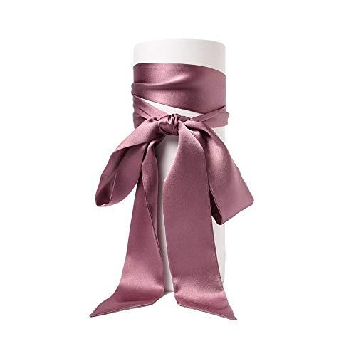 SWECOMZE Satin-Schärpe Gürtel Damen Hochzeit Bogen Band Schal Krawatte (Bohnenpaste)