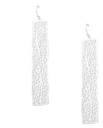 Urban Chic Ultra Light Filigrana Orecchini lunghi argento leggero Laser Cut placcato argento, lunghezza 6,7cm