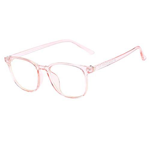 REALIKE Unisex Damen und Herren Brille Klassische Flacher Spiegel Runder Rahmen Brillengestell Elegant Brillengestell Aus,Anti-Blaulichtbrille, (Farbe : Schwarz, Rosa, Grau, Blau) -