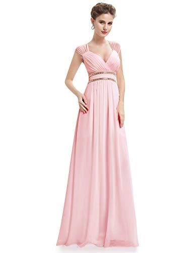 Ever-Pretty Vestido de Fiesta Noche Elegante con Cuello en V para Mujer 36 Rosa