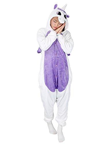 Tier Karton Kostüm Einhorn PyjamaTierkostüme Jumpsuit Erwachsene Schlafanzug Unisex Cosplay (XL, Einhorn Lila)