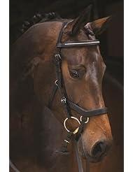 Rambo Micklem–Brida Inglés diamante piel de competición (sin riendas), negro, Large Horse