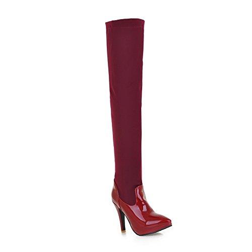 AllhqFashion Damen Metalldekoration Blend-Materialien Stiletto Ziehen auf Stiefel, Grau, 40