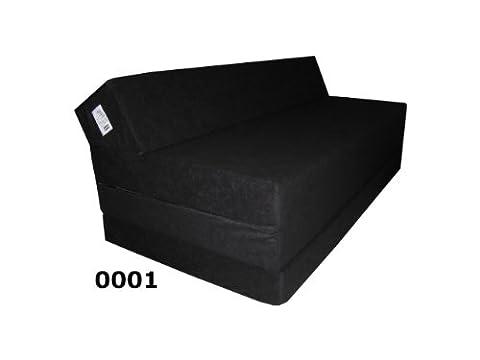 Natalia Spzoo Matelas pliant sofa pour adultes et enfants, choix des couleurs 200 cm de long sélection des couleurs (Noir)