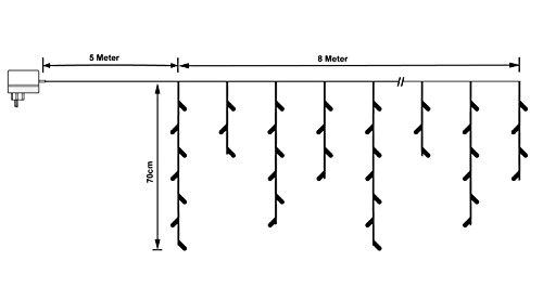 LED Eisregen Lichterkette mit 400 kalt weissen LEDs Lichtervorhang für Draußen und Innen - 5