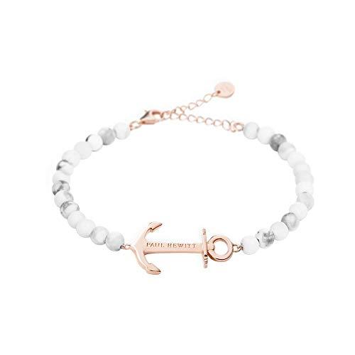 PAUL HEWITT Bundle Perlenarmband Damen Anchor Spirit - Armkette Damen (Marmor) mit Anker Schmuck aus Edelstahl (Rosegold) + Geschenkverpackung