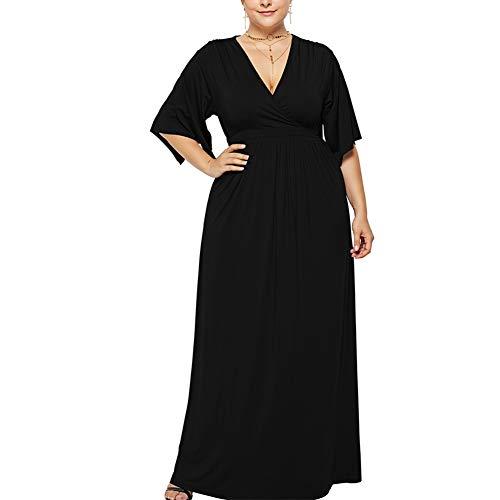 Lover-Beauty Damen Übergröße Abendkleid V-Ausschnitt Chiffon mit Ärmel Elegant Lang Ballkleid schwarz*1 3XL
