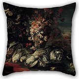 Preisvergleich Produktbild Beautifulseason 18 X 18 Inches / 45 By 45 Cm Oil Painting Jean Baptiste Oudry - Death Nature With Shooting Gear And Flowers II Throw Pillow Case,two Sides Is Fit For Boys,father,office,couples,fest