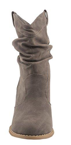 Elara Donna Ankle Boots | alla moda Cowboy Boots | effetto pelle stivaletti Grau