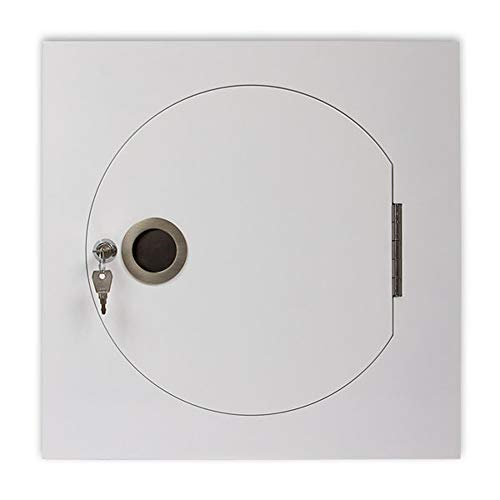 Wäscheabwurfschacht Einwurftür für Wäschesammler | Muschelgriff | rund-eckig Ø 300 mm | weiß pulverbeschichtet | abschließbar