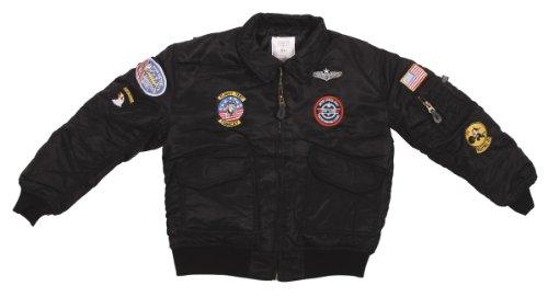 MFH Kinder Pilotenjacke Us Cwu Mit Fliegerabzeichen, schwarz, (Fußball Kinder Uniform)