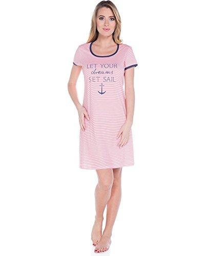Italian Fashion IF Camicia da Notte per Donna Imka 0114 Rosa/Navy