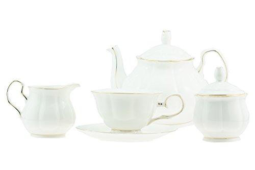 15pezzi lusso Bone China bianco perla con bordo oro stile britannico da tè/caffè,  pezzi per 6persone