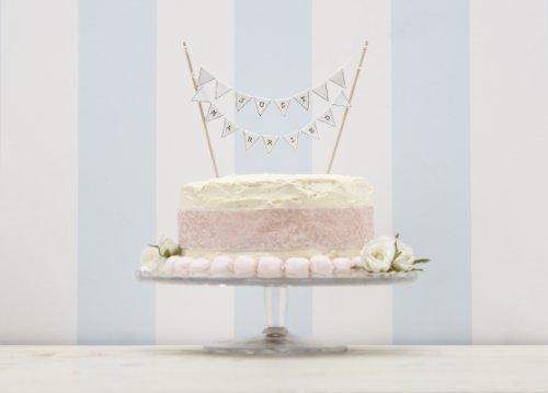 Just Married Weinlese Hochzeitstorte Bunting - Hochzeit Cake Topper (Weinlese-hochzeits-kuchen-dekoration)