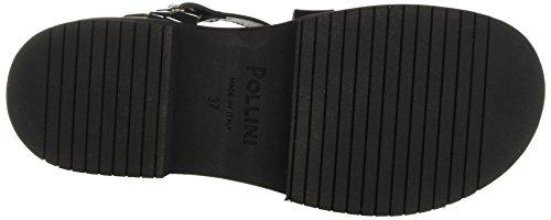 Pollini Damen yosh Sandalen schwarz (Gun Crocodile Printed Lamè Calf-Black Cowhide Black Insole)