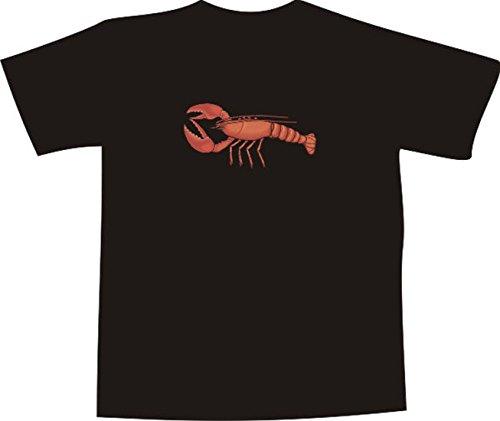 T-Shirt E571 Schönes T-Shirt mit farbigem Brustaufdruck - Logo / Grafik - Comic Design - schöner roter Hummer Schwarz