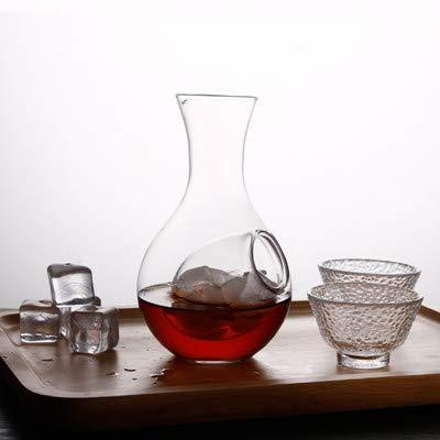 japanisches Glas Weinflasche Daumenloch Sake-Glas Eiskrug Hamster Nest Kühlraum Wein Ausgießer Set Flasche und zwei Tassen ()