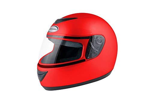 Saferide | Integralhelm Rot Matt M 57-58 cm Helm Motorrad Quad Damen Herren Roller Gesichtsschutz Klapphelm Erwachsene Regenschutz Sturzhelm Motorradhelm Moped Mofa