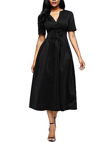 Robe Noir Vintage - Dokotoo Robe en Col -V Divisé Vintage