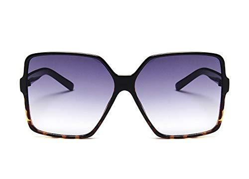 WSKPE Sonnenbrille,Vintage Oversize Quadratische Sonnenbrille Frauen Männer Big Frame Sonnenbrillen Uv-Farben 400 Schwarz Leopard Rahmen Doppelter Grauer Linse