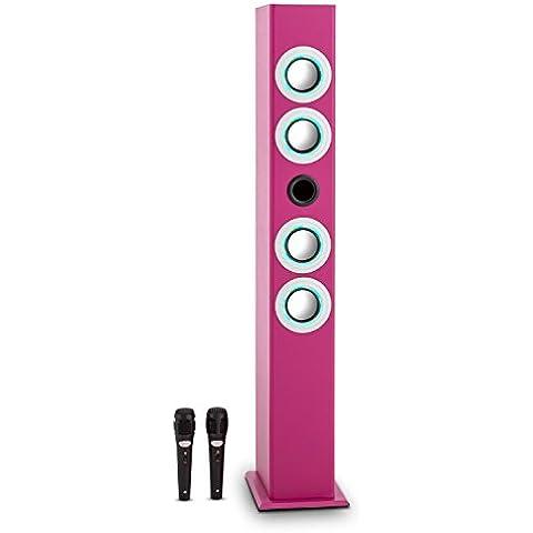 oneConcept Tallgirl altavoz karaoke (entrada USB, dos micrófonos, mando a distancia, efecto luz LED, Bluetooth, ranura para tarjeta SD) -