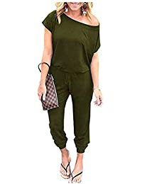 46255a0a Caracilia Women's Jumpsuit Crewneck One Off Shoulder Short Sleeve Elastic  Waist Romper Playsuit with Pockets and