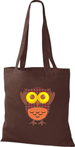 diverse Eule ShirtInStyle braun Owl Bunte Stoffbeutel niedliche Jute Tragetasche Retro Farbe WqHx8O4AwH