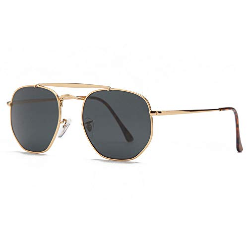 3648 Sechskant Sonnenbrille Damen Herren 54mm Glaslinsenspiegel schwarz runde Sonnenbrille oculos de sol Gafas UV400 schwarz