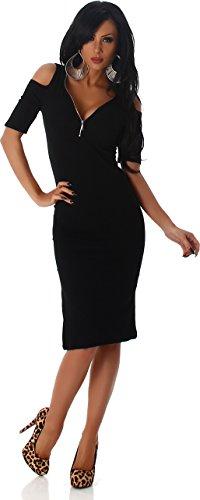 Cocktail di sera Jela London signore costola del partito del vestito del mini vestito spalle manica corta con zip Nero