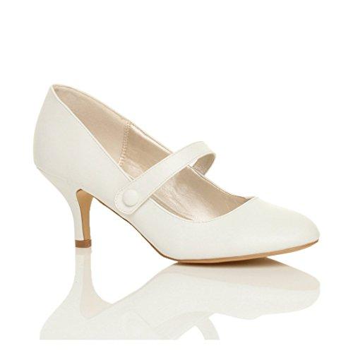 Donna media tacco mary jane lavoro festa elegante scarpe di moda taglia 7 40
