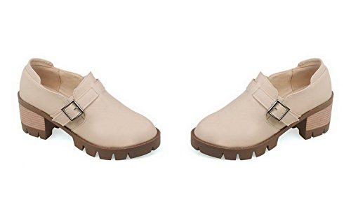 AllhqFashion Damen Rund Zehe Ziehen Auf Rein Mittler Absatz Pumps Schuhe Cremefarben