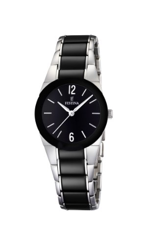 Festina Ladies Analogue Watch F16534/2 with Stainless Steel Strap and Black Dial